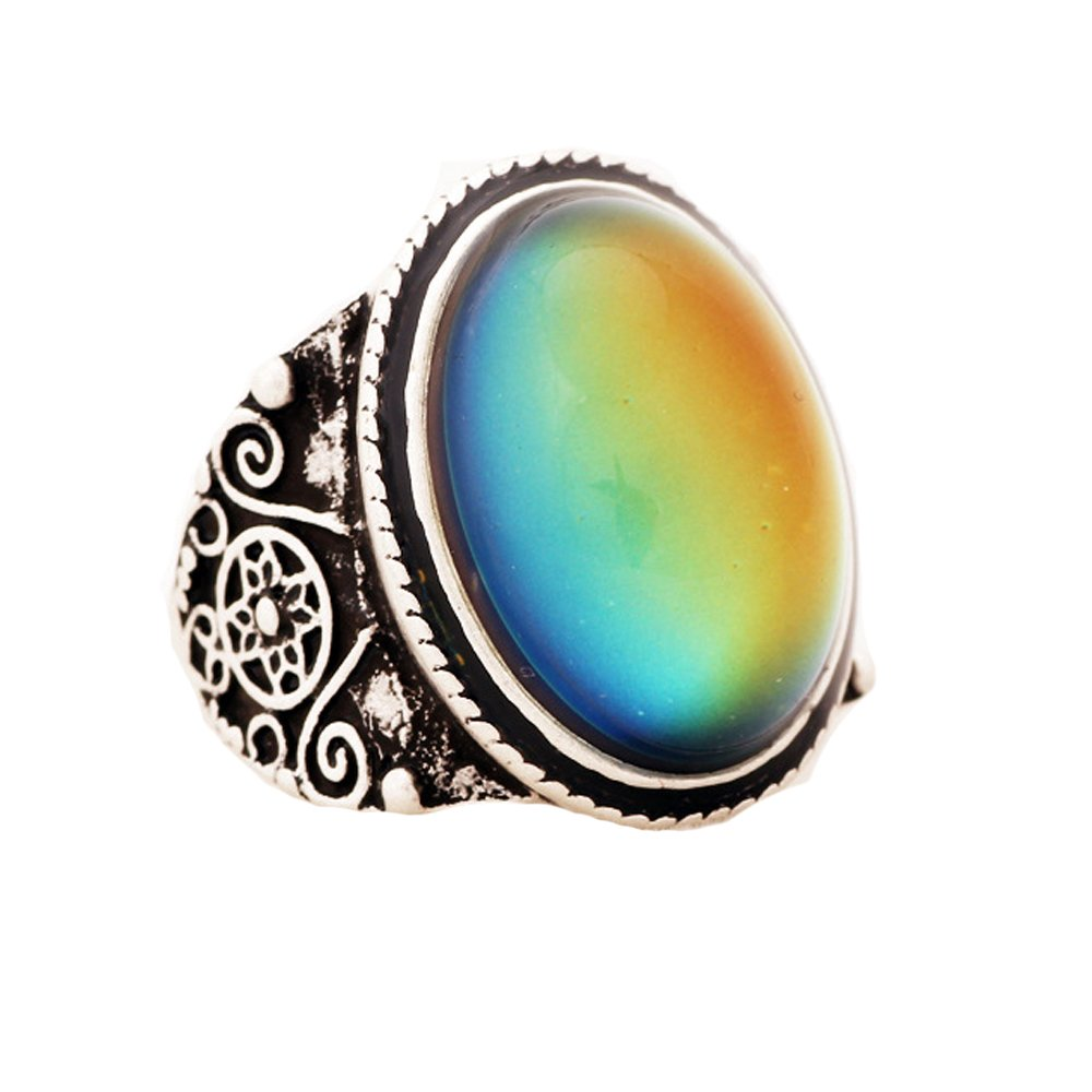 YOUNICE Mood Ring Sterling Silver Plating Changing Color for Adults Vintage Statement Stacking Rings by YOUNICE
