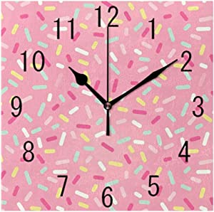GULTMEE Square Wall Clock Home Decorative, Abstract Pattern of Colorful Donut Sprinkles Sweet Tasty Food Bakery Theme, 7.8