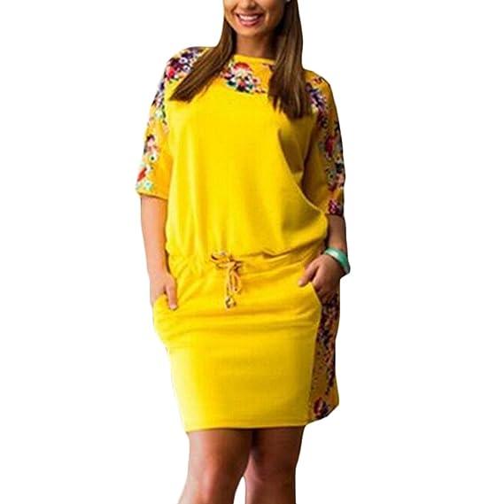 Tomayth Mujeres Casual Cuello Redondo Boho Impresión Floral Bolsillo flojo Talla Grande Manga Corta Cóctel de la Vestido de Fiesta Vestidos corto: ...