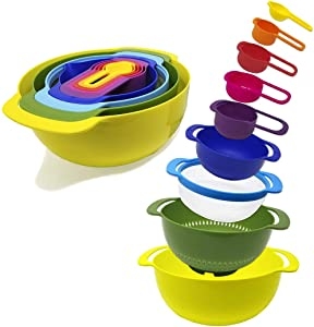 9-Piece Nesting Mixing Bowls & Measuring Cups Set for Cooking, RV Camping, Tiny Home Kitchen