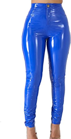 Amazon Com Vnvne Pantalones De Latex Con Forro De Piel Sintetica Para Mujer Con Pinzas S Clothing