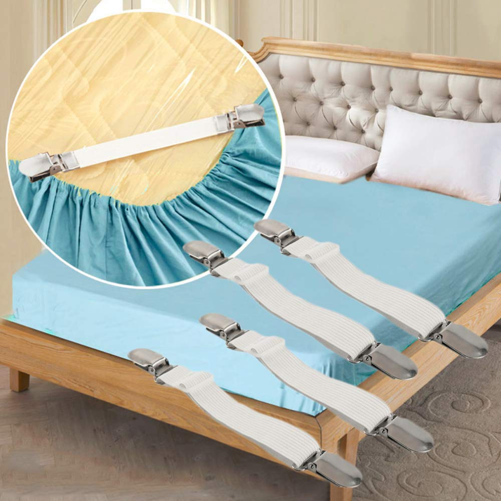 Blanc 12Pcs Fixation Attache Sangle de Maintien Ajustable Maintient Tendeur Draps R/églable Sangle Drap Housse de Maintient Tendeur Draps R/églable,pour Drap Lit,Canap/é