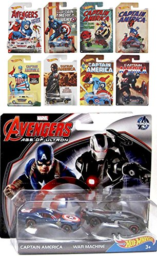 Captain America 75th Avengers Hot Wheels Exclusive Car Sets 8 Cars + EXCLUSIVE VEHICLE Age of Ultron Pack