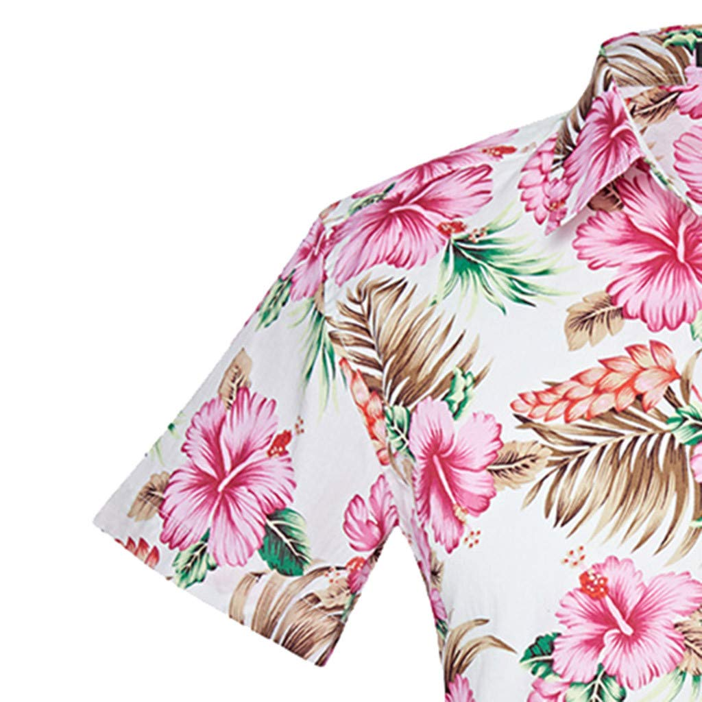 Pottseth Mens Shirts Short Sleeve Print Blouse Stand Collar Slim Fit Tops Tee Shirt Business Ethnic Style