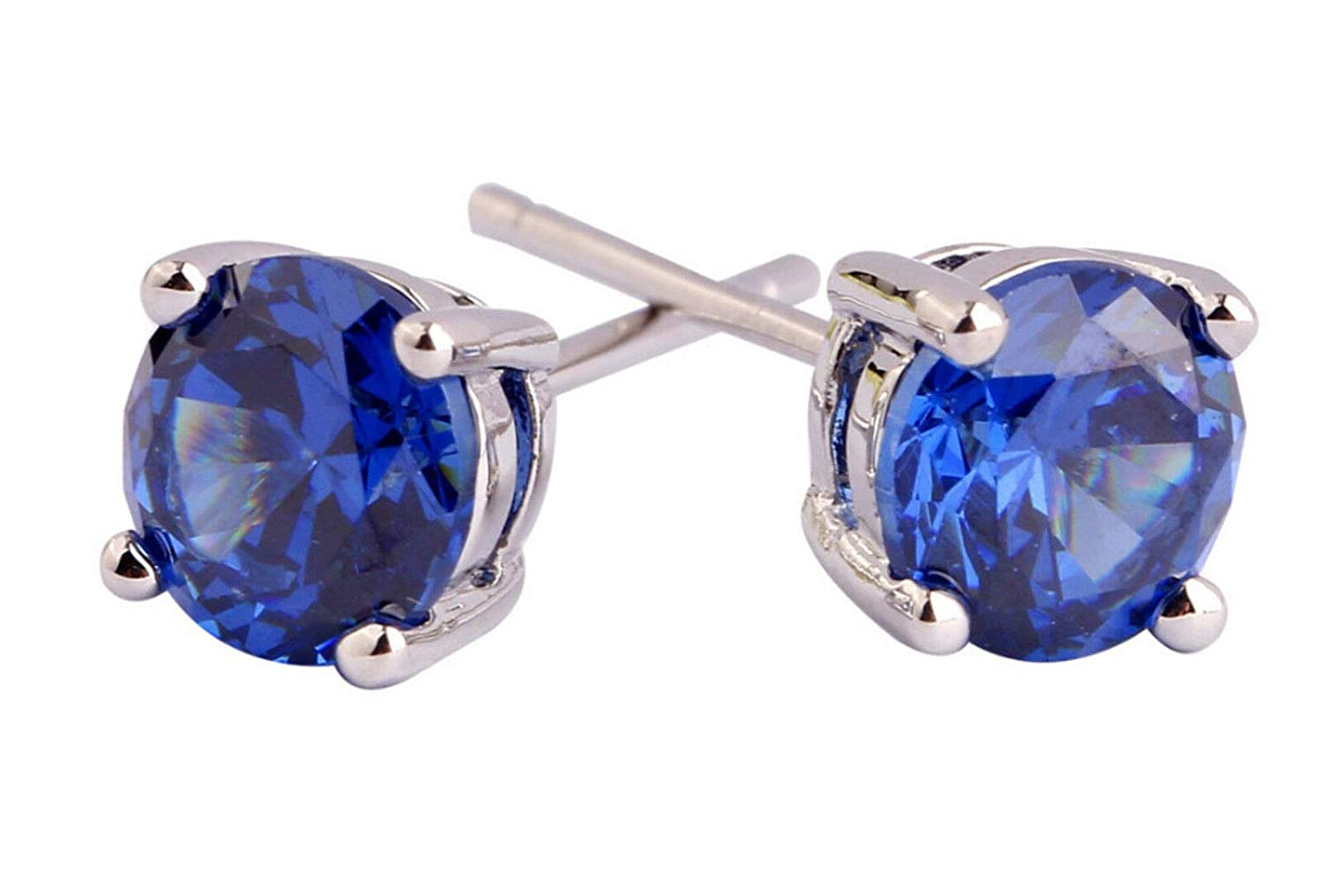 CGJ Girls Tanzanite Round 4.00mm to 8.00mm Womens Lovely Stud Earring14k White Gold Finish