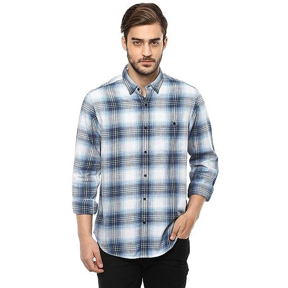 Buy BLACKBERRY URBAN Men's Round Neck Check Shirt (Blue, 42) at ...