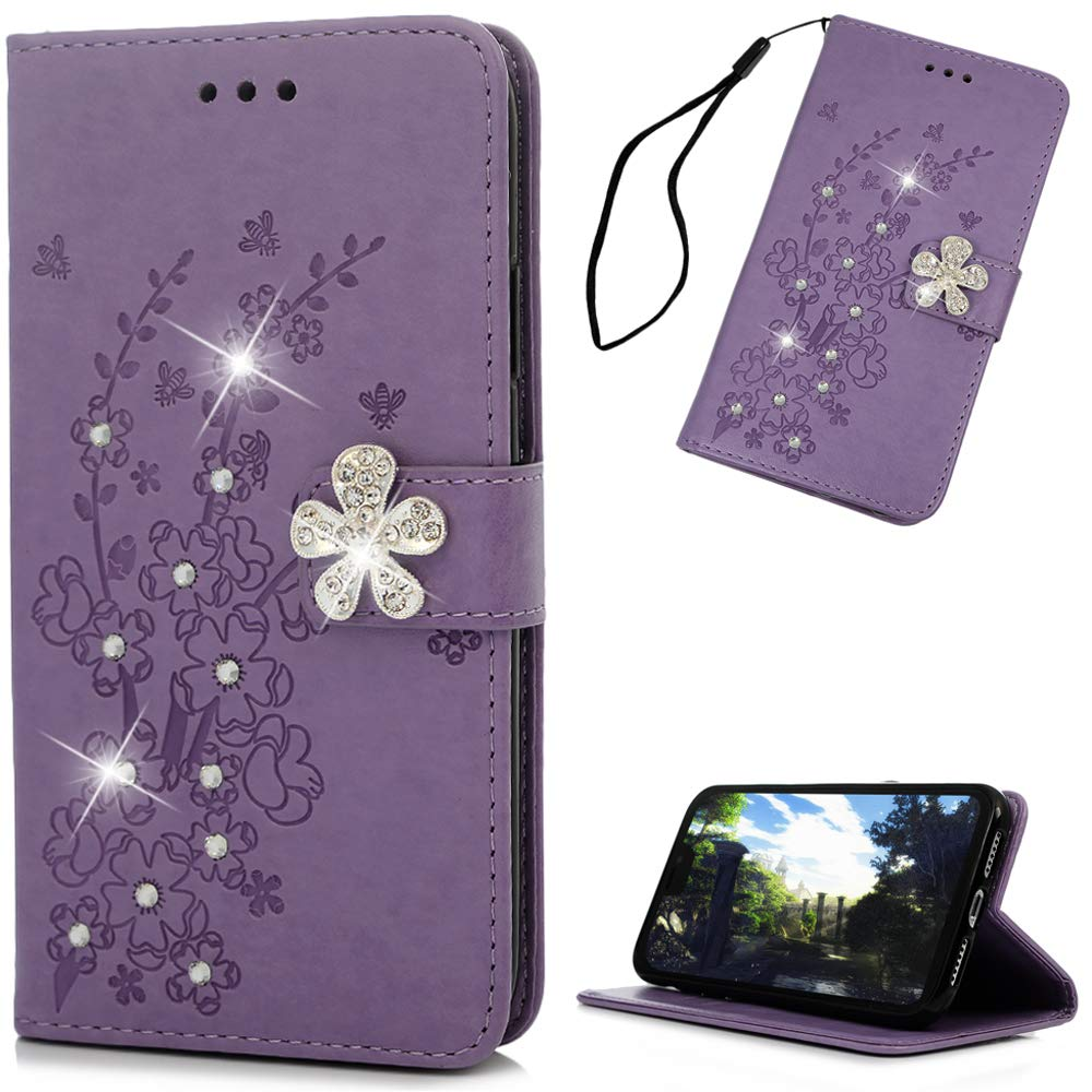 iPhone Xs Max Case 6.5'', YOKIRIN PU Leather 3D Handmade Bling Crystal Diamonds Gold Butterfly Flowers Wallet Case with TPU Inner Bumper Hand Strap Magnetic Card Slot Flip Cover iPhone Xs Max (2018)