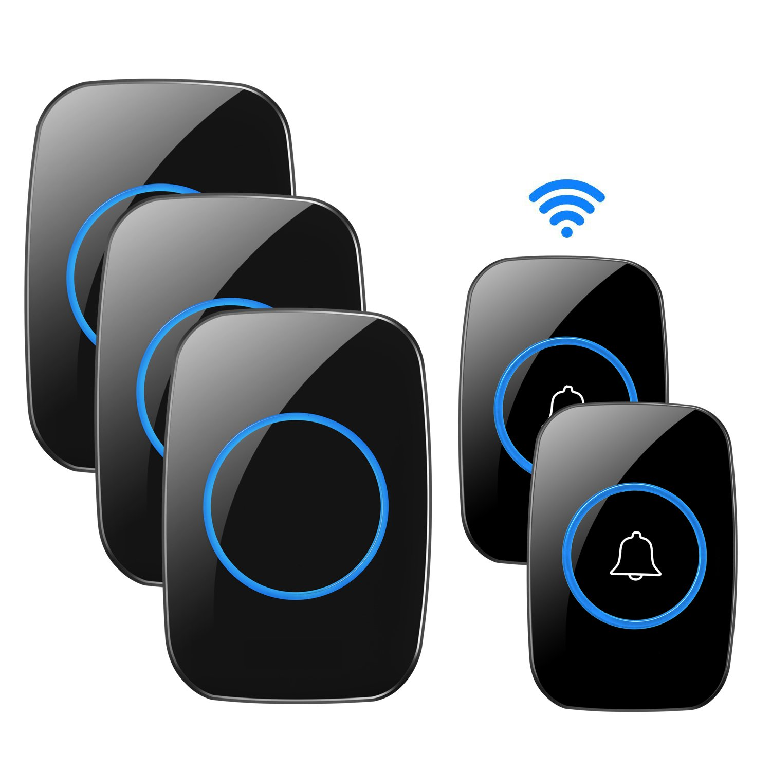 Wireless Doorbell, 1PlusOne Waterproof Door Chime Kit Includes Push Button and Plug-In Receiver, Operating over 1000 feet Range, CD Quality Sound and LED Flash (2 Transmitter + 3 Receiver, Black)