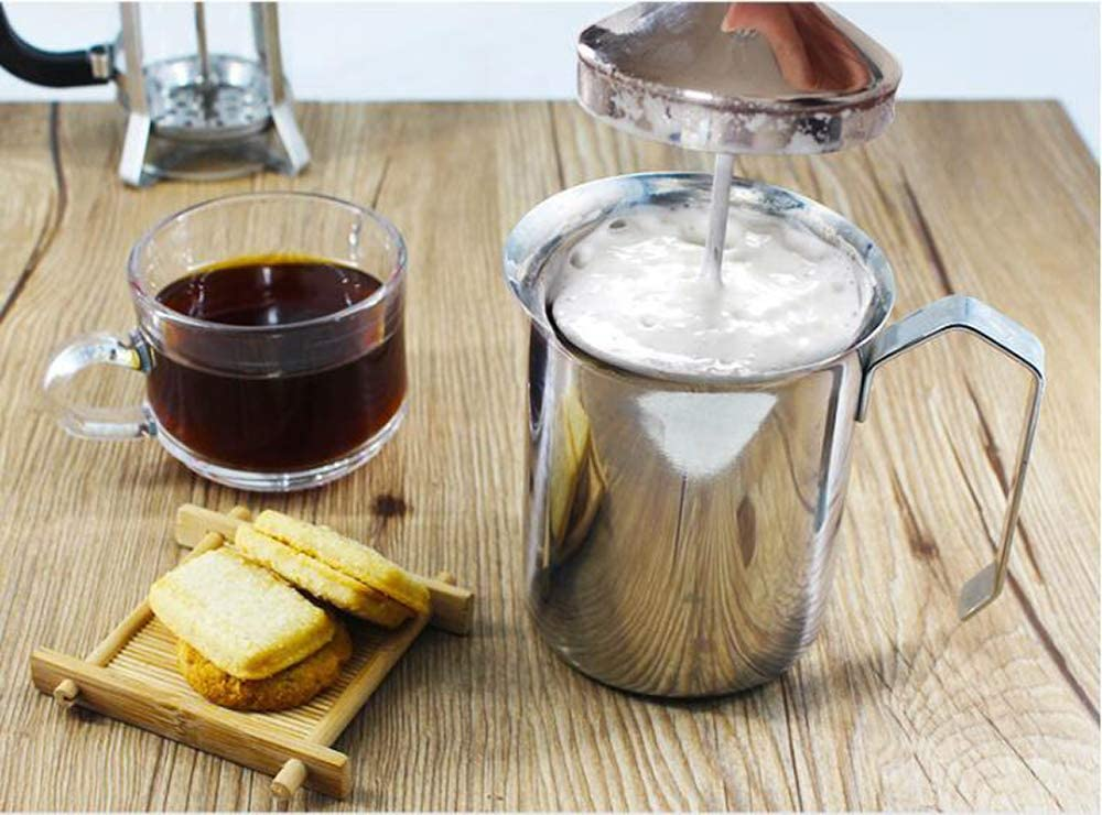 Manual Milk Creamer Hand Pump Frother Cappuccino Latte Coffee Foam Pitcher with Handle, Lid, Double Layer Filter Screen, Stainless Steel, 17-Ounce ...