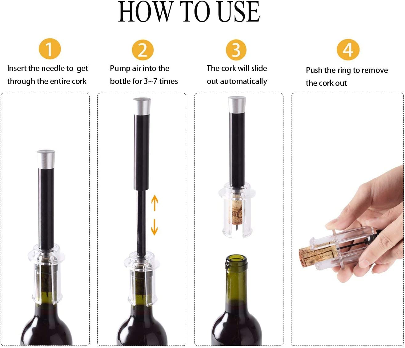 Wine Bottle Opener Air Pump Stainless Steel Pin Type Bottle Pump Abridor De Vino