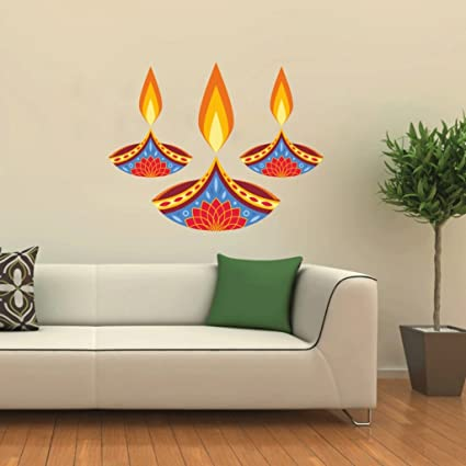 Buy Decor Villa Three Deepak Happy Diwali Deepak Wall Sticker 12