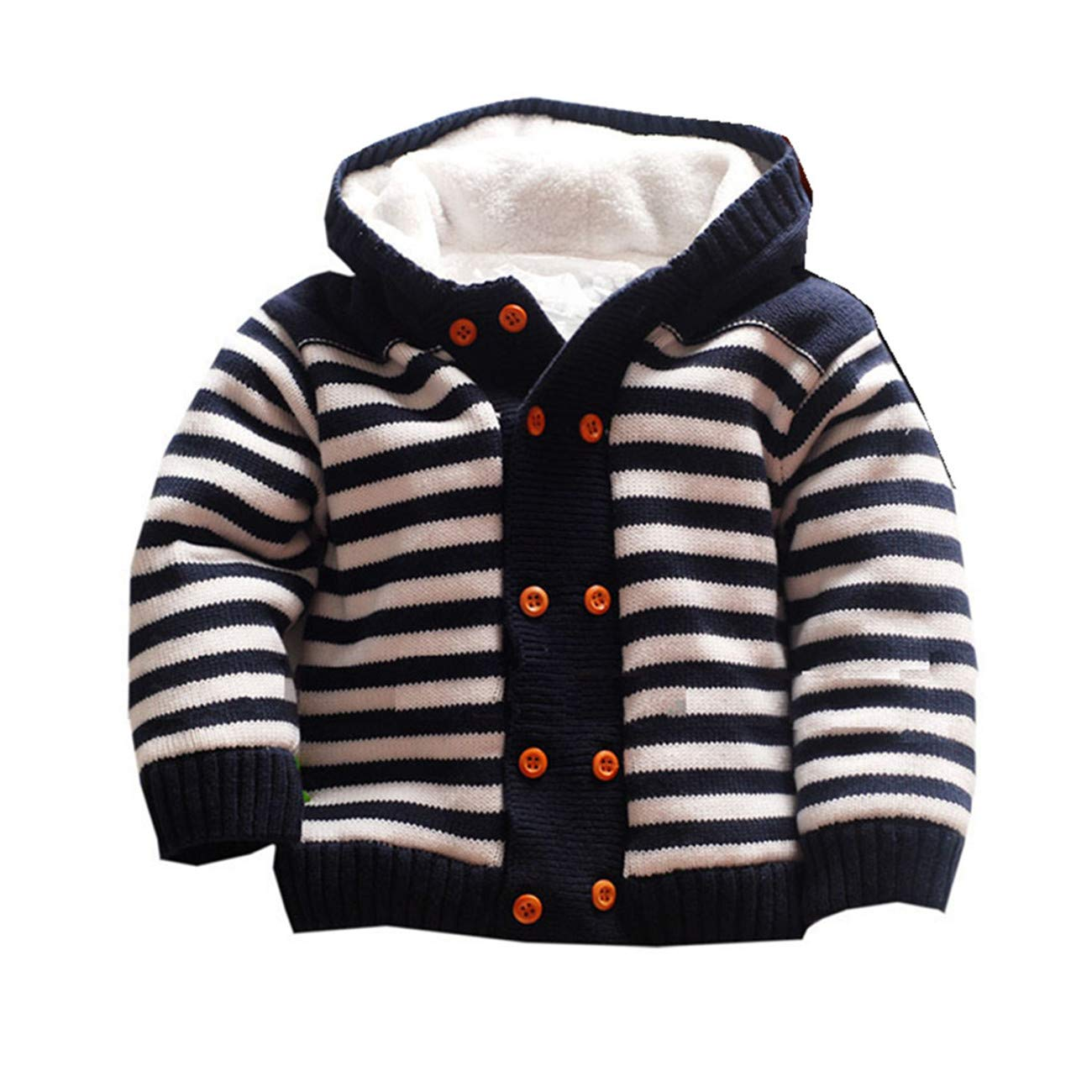 Dealone Baby Boys Hooded Cardigan Jacket Long Sleeve Striped Knitted Sweater Toddler Winter Warm Outerwear Navy by Dealone