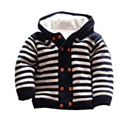 Dealone Baby Boys Hooded Cardigan Jacket Long Sleeve Striped Knitted Sweater Toddler Winter Warm Outerwear Navy