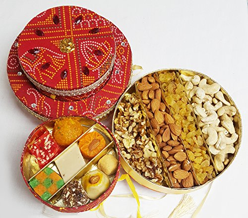 Sukhadia's Indian Gifts- Fancy Bandhani Box Combo- 20oz Masala Nuts & 12oz Indian Sweets