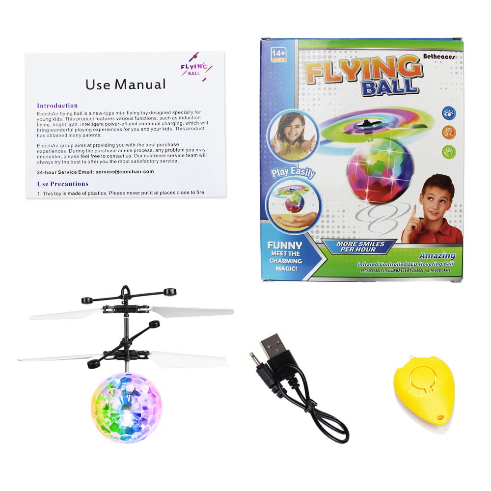 Betheaces Flying Ball, RC Flying Toy, Boys Toys, Infrared Induction Helicopter Drone with Colorful Shinning LED Light and Remote Controller for Kids, Gifts for Boys and Girls, Indoor and Outdoor Game by Betheaces (Image #7)