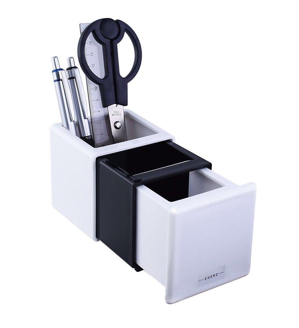 EXERZ EX351E Allungabile da scrivania / Organizer da scrivania/ Scrivania ordinata / Riordinatore di penne / Organizzatore penne - soluzione di storage di cancelleria per ufficio o casa, regalo pratico - Arancione / Bianco Exerz Limited