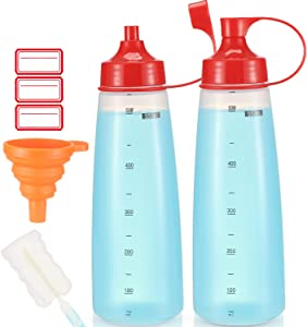 Condiment Squeeze Bottle Wide Mouth, Ondiomn 2 Pack 550ml Clear Squeeze Bottles for Condiments, Paint, Ketchup, Mustard, Oil, Sauces, Resin, Baking, Cake Decorating, Cleaning, BPA Free-Food Grade