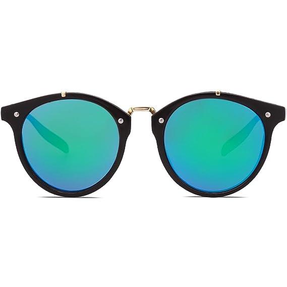 SOJOS Gafas De Sol Unisex Clásico Marco Redondo Lentes Espejo SJ2054