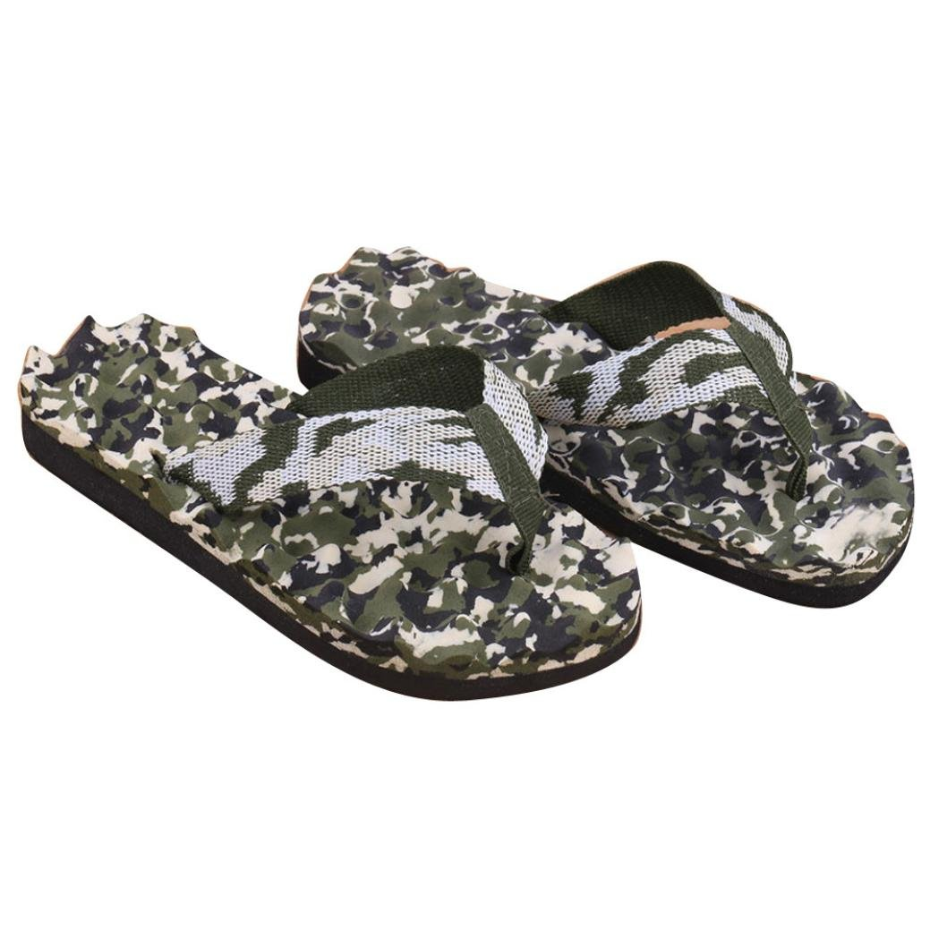 Fullfun Men Summer Camouflage Bath Slippers Shoes Indoor & Outdoor Flip Flops (8.5, Green)