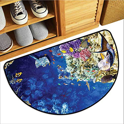 Axbkl Interior Door mat Ocean Untouched Wild Aquatic World Corals Exotic Fishes Stingray Seascape Easy to Clean W36 xL24 Navy Blue Beige and Purple