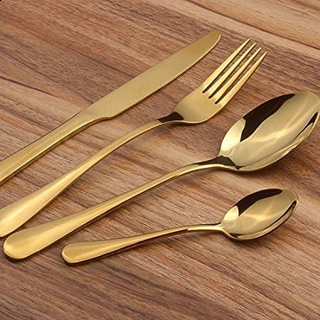Ustensile de cuisine Ensemble de coutellerie Ustensiles en acier inoxydable Vaisselle Vaisselle Set de couverts Couverts Spoon Fork Set of 4 (Couleur : Black) Whyyudan