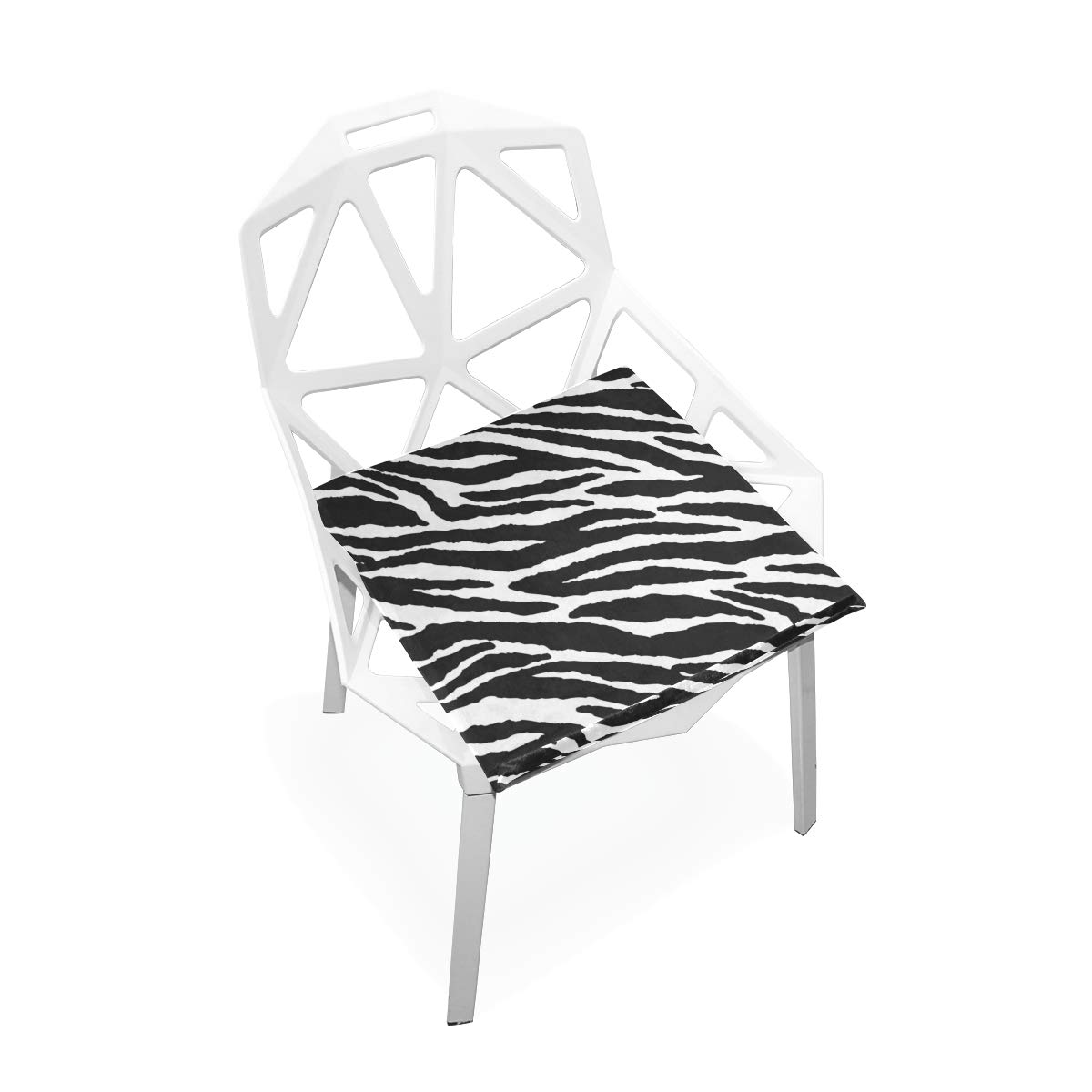 TSWEETHOME Comfort Memory Foam Square Chair Cushion Seat Cushion with Animal Skins Zebra Print Chair Pads for Floors Dining Office Chairs