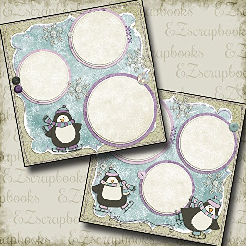 SNOW PENGUINS - Premade Scrapbook Pages - EZ Layout 11 (Page Snow Scrapbook)