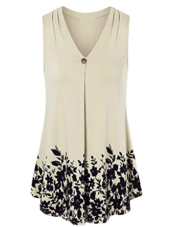 ZENUTA Women Floral Print Summer Plus Size Tank Tops V Neck Sleeveless Shirt  S Beige