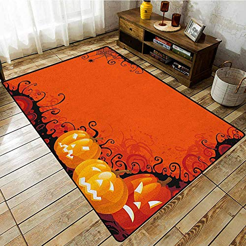 Hallway Rug,Spider Web,Three Halloween Pumpkins Abstract Black Web Pattern Trick or Treat,All Season Universal Orange Marigold Black]()