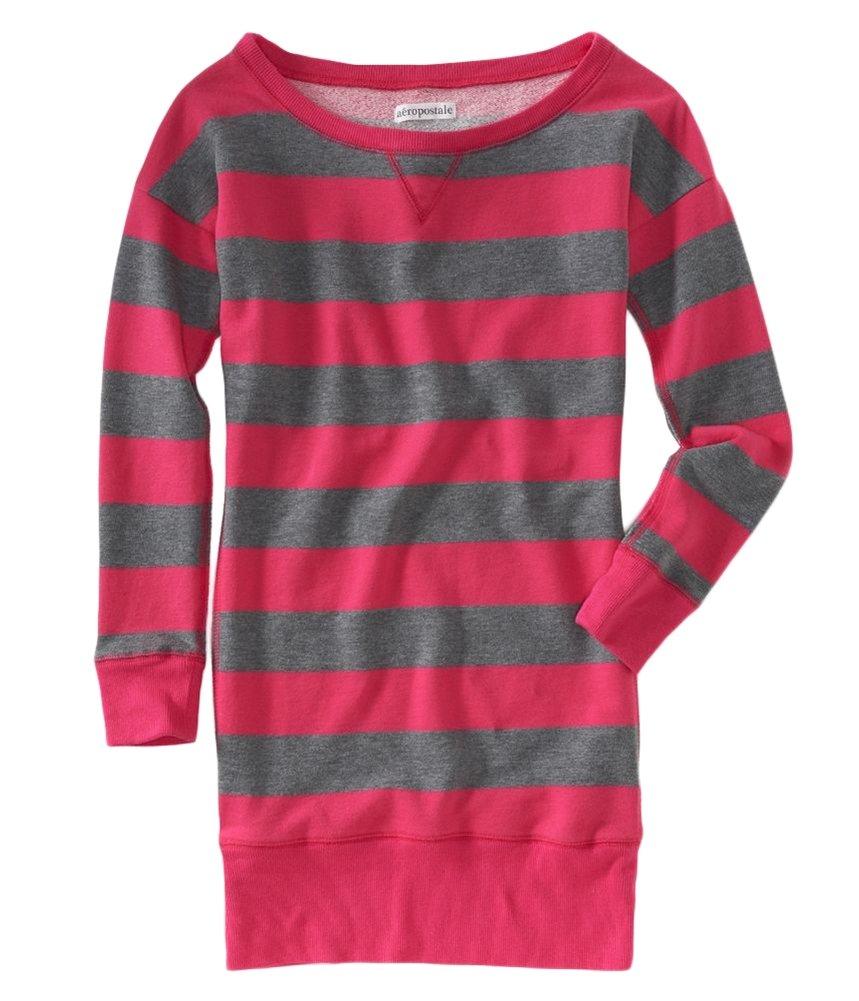 Aeropostale Womens Stripe Fleece Sweater Dress Pink S - Juniors