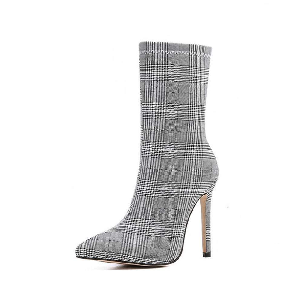 11 Stiletto Pointed Toe Plaid Cloth Ankle Stiefelie Martin Stiefel damen Fashion Zipper OL Court schuhe Eu Größe 35-42