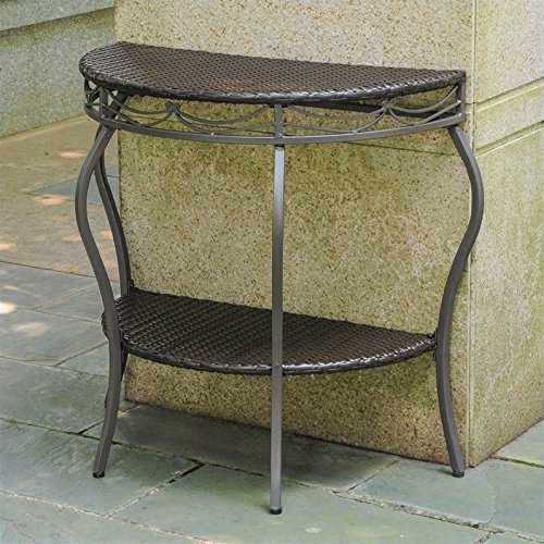 Pemberly Row Half Moon Patio Table in Chocolate