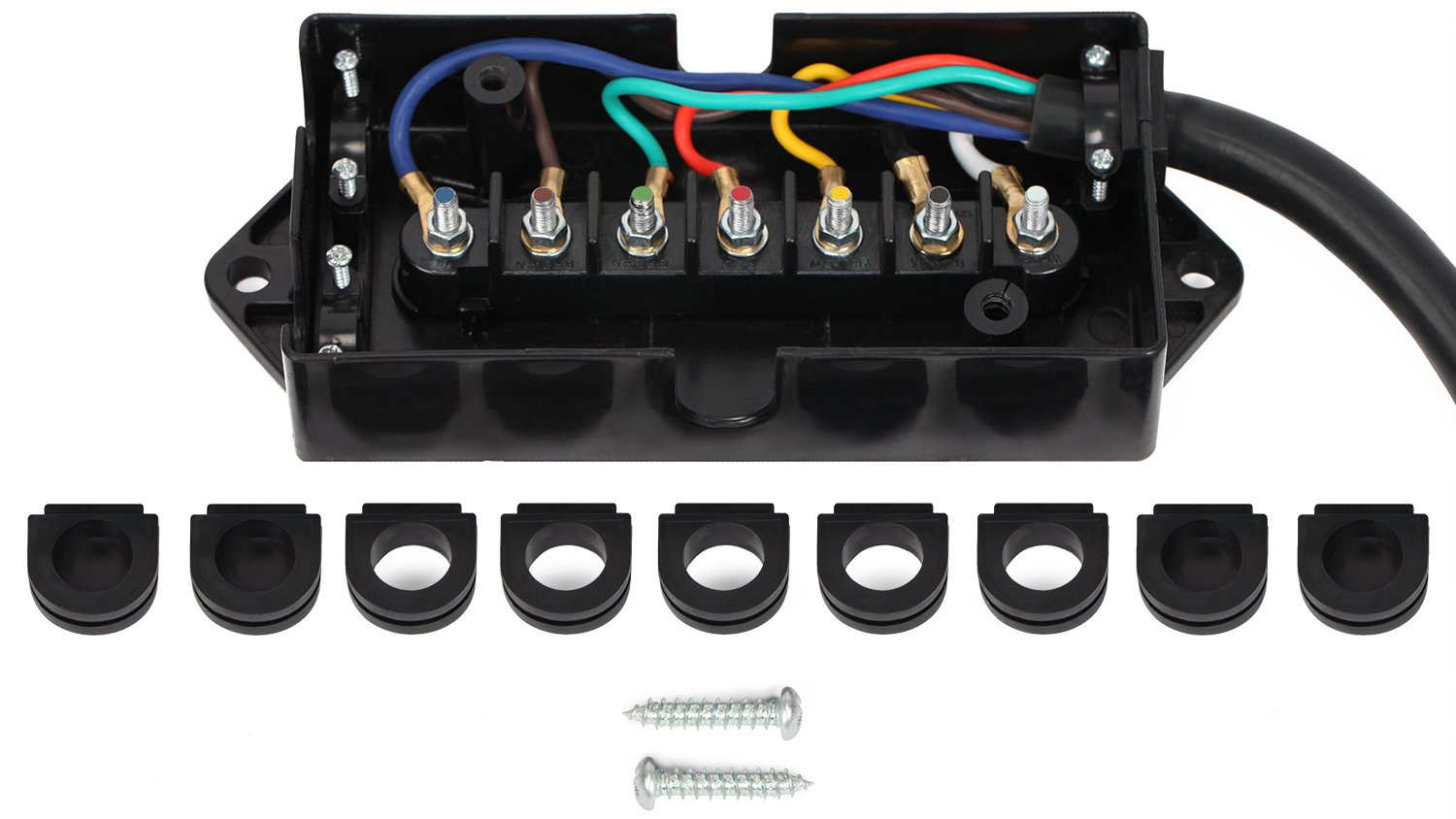 lavolta 7-way trailer truck camper plug cord with 7-pole wiring junction  box - inline harness kit rv blade molded wire connector - weatherproof and