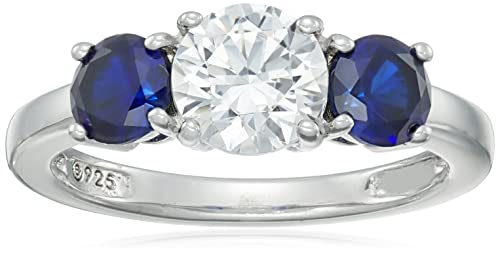 Platinum-Plated Sterling Silver Swarovski Zirconia Round-Cut Center Stone and Created Sapphire Ring, Size 9