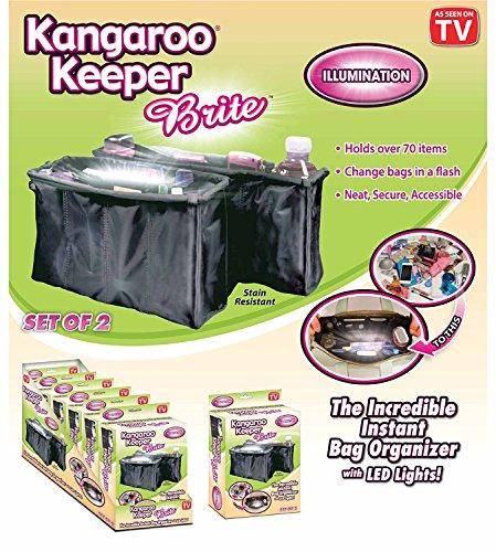 """Kangaroo Keeper """"Brite"""" Purse Organizer - Black (Set of 2)"""
