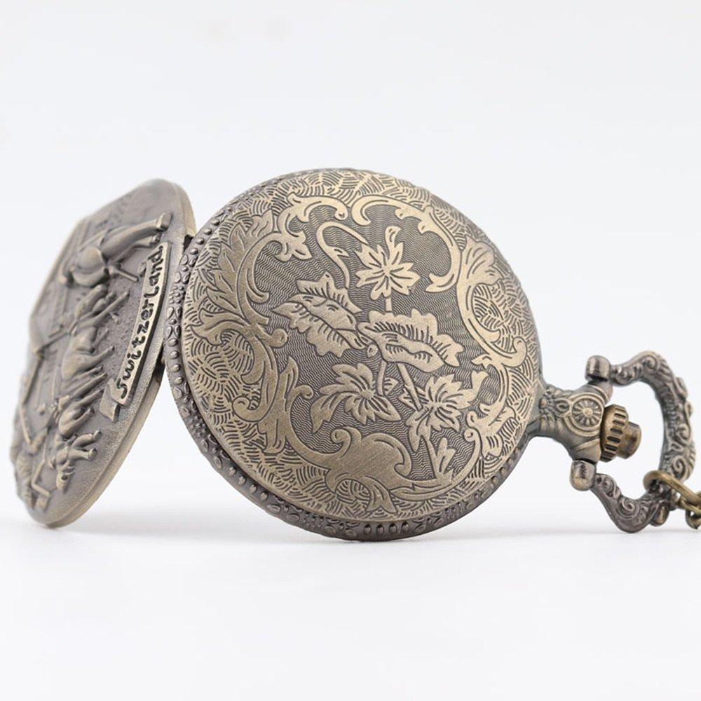 Shirleyle Vintage Bronze Quartz Pocket Watch With Chain Christmas Wedding Gift For Women Men by Shirleyle (Image #4)
