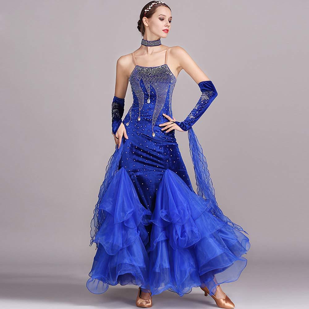 現代の女性大きな振り子ベルベットモダンダンスドレスタンゴとワルツダンスドレスダンスコンペティションスカートフックポイントラインストーンダンスコスチューム B07HHNK54P Small|Blue Blue Small
