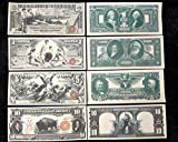 1896 $1 $2 $5 Educational Series Silver Certificate 1901 $10 Bison X Large Copy Reprint Reproductions