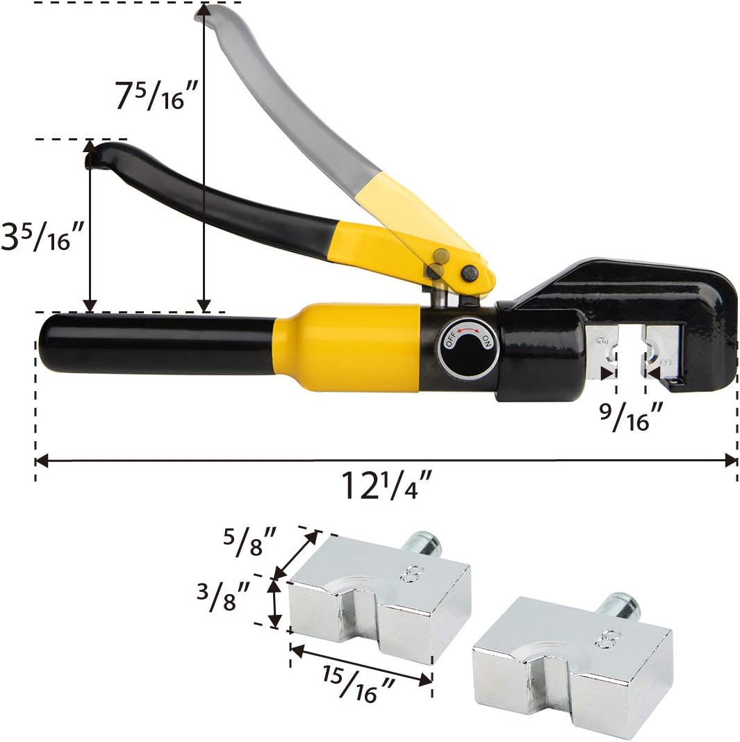 HYCLAT 10 Tons Hydraulic Wire Battery Cable Lug Terminal Crimping Tool