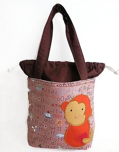 Mono tejer Crochet proyecto bolsa con cierre de cordón, color marrón: Amazon.es: Juguetes y juegos