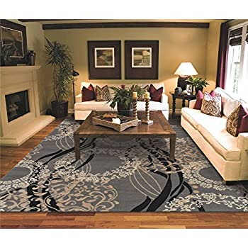 Amazon Com Large Area Rugs For Living Room 8x10 Gray
