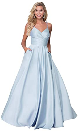 d7b83af79ea Zhongde Women s Beaded Spaghetti Strap Satin V Neck Formal Gown Long Prom  Dress with Pockets Bady