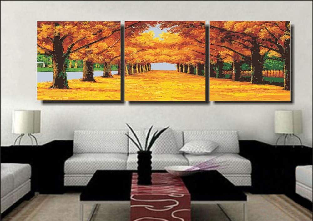 WOWDECOR DIY Malen nach Zahlen 3 teilig Bilder Wohnzimmer Dekorative Malerei mit Rahmen Geheimnisvoller Baum Bunt Sch/ön 40x40cm x3 3er Set triptychon XXL gro/ß
