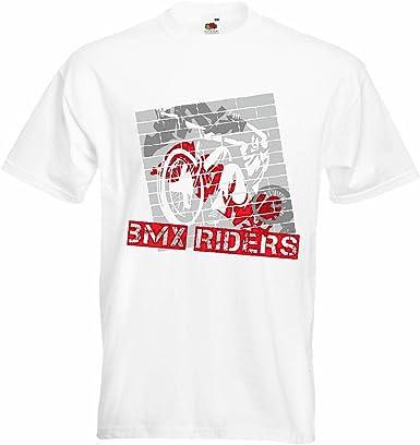 T-Shirt Camiseta Remera BMX o bicicross Bicicleta Freestyle Chopper Mountainbike en Blanco: Amazon.es: Ropa y accesorios