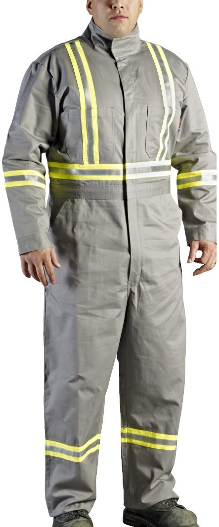 Walls Grey 9-Ounce FR 88/12 Striped Coverall, HRC 2, ATPV, 12.7 cal/cm2, CGSB 155.20, CSA Z462, NFPA 2112, NFPA 70E and ASTM F1506 46L Walls FR C62045GY9 46L