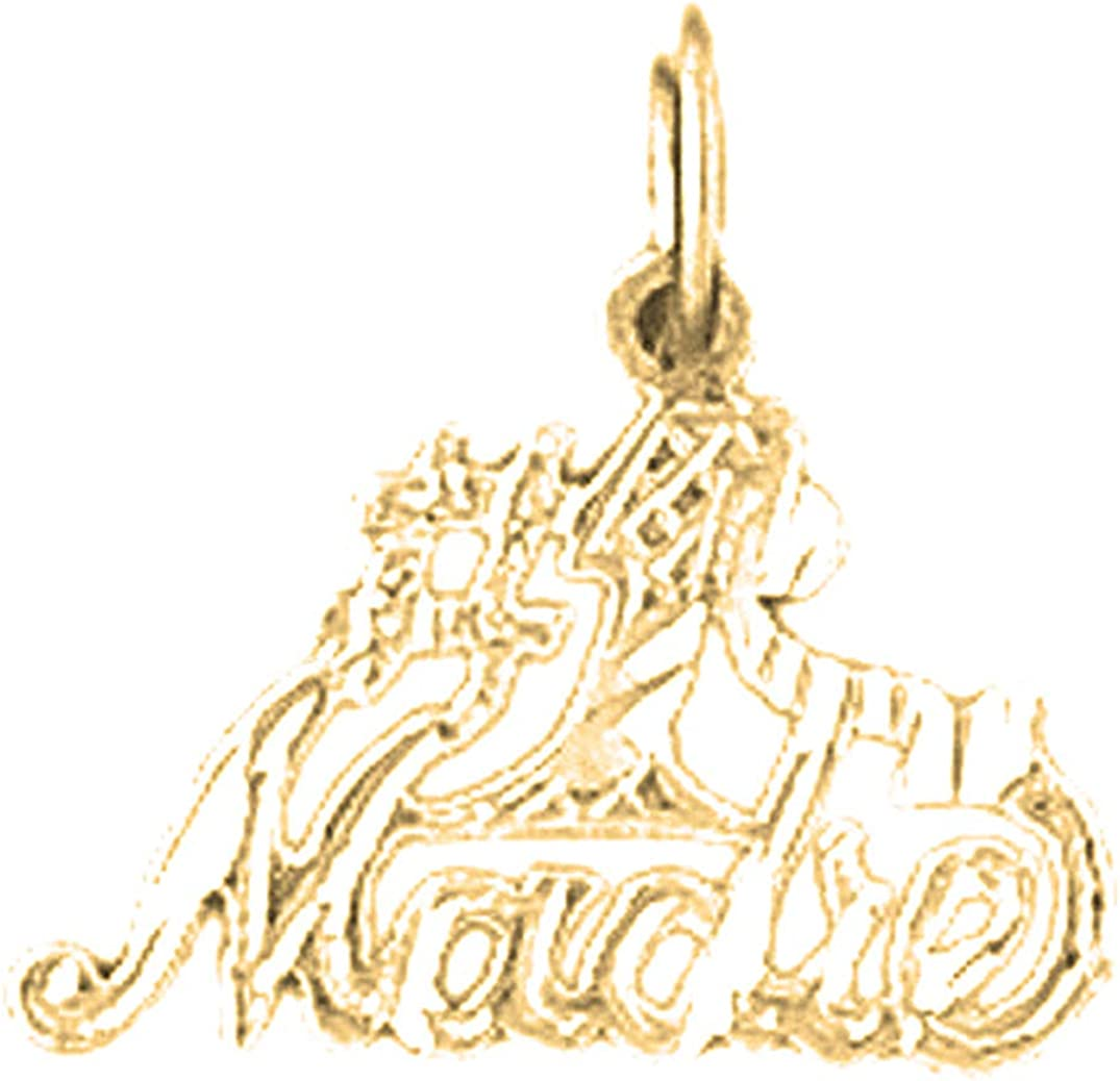 15 mm Jewels Obsession 14K Yellow Gold #1 Mom Pendant