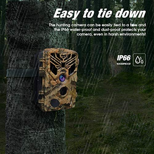 """LByzHan Trail Game Camera 24MP 1080P Hunting Cam with 32GB TF Card Night Vision Motion Activated IP66 Waterproof 120° Detecting Range 2.0"""" TFT 44pcs IR LEDs 3 PIR No Glow 940nm for Wildlife Monitoring"""