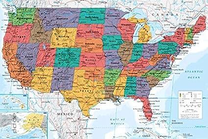 Cartina Geografica Degli Stati Uniti Di America.Poster Cartina Usa Ing Map U S A Stati Uniti D America Dimensioni 61 X 91 5 Cm Maxi Poster Amazon It Casa E Cucina