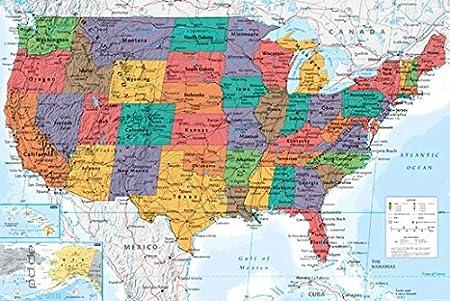 Cartina Stati Uniti Fisica.Poster Cartina Usa Ing Map U S A Stati Uniti D America