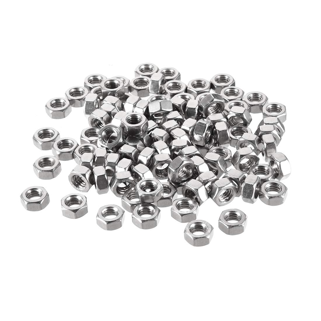uxcell Metric M3x0.5mm Stainless Steel Finished Hex Nut Silver Tone 50pcs